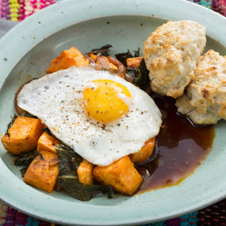 Sweet Potato & Collard Green Hash with Biscuits, Sunny Side-Up Eggs & Molasses Butter