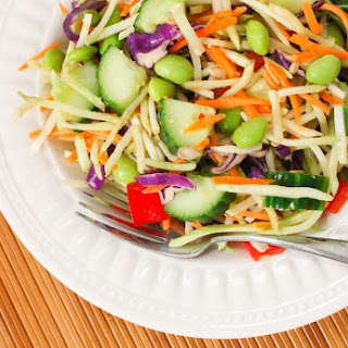 Asian Broccoli Slaw Salad with Peanut Ginger Dressing