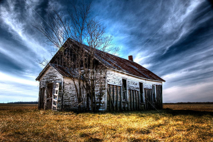 School House by Vicki Overman - Buildings & Architecture Other Exteriors ( clouds, school house, one room school, winter sky, hdr image )
