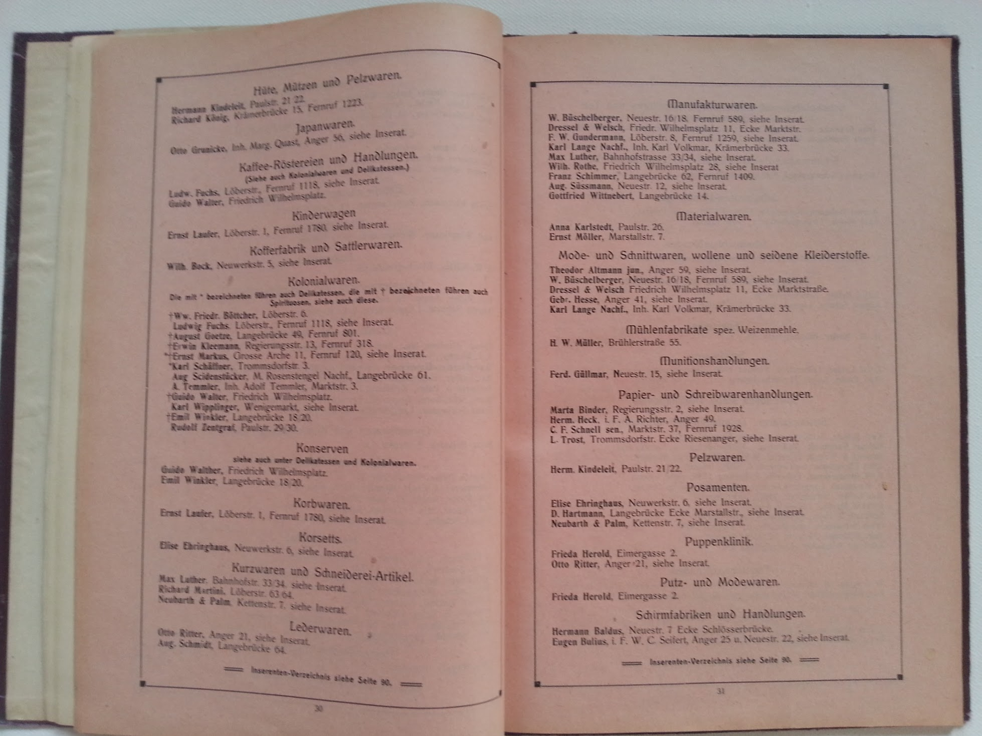 Schatzkammer der Hausfrau - Adressenbuch Erfurt 1911