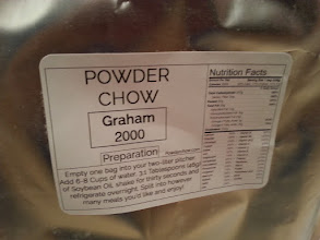 Photo: PowderChowOrder- Graham Ordered: May 22 Arrived: May 29  Taste fresh mixed - chocolate cinnamon cookie chilled-also chocolate cinnamon cookie  Texture fresh mixed - thin, slightly chunky (i should have mixed better) chilled - thin yet gritty, like as if someone actually mixed a spoonful of grits in  Fullness pretty full for hours  Notes Not really getting graham at all. I like it though, great taste. However i didn't have the requested oil so I used vegetable oil. I personally dislike having to have a thing - I prefer how some brands ship with the appropriate oil. On the other hand the flavor is delicious.  buy:http://powderchow.com/  Project Tag:https://amazonv.dreamwidth.org/tag/soylent+experiment  Spreadsheet:https://docs.google.com/spreadsheets/d/1c_ceOFR7S_4qUiVcEG3ykQiSRpuc13PnmcraBwklDWg/edit#gid=0  Photos:https://plus.google.com/photos/104379818983119483801/albums/6137295043742319505  writeup:https://amazonv.dreamwidth.org/52806.html