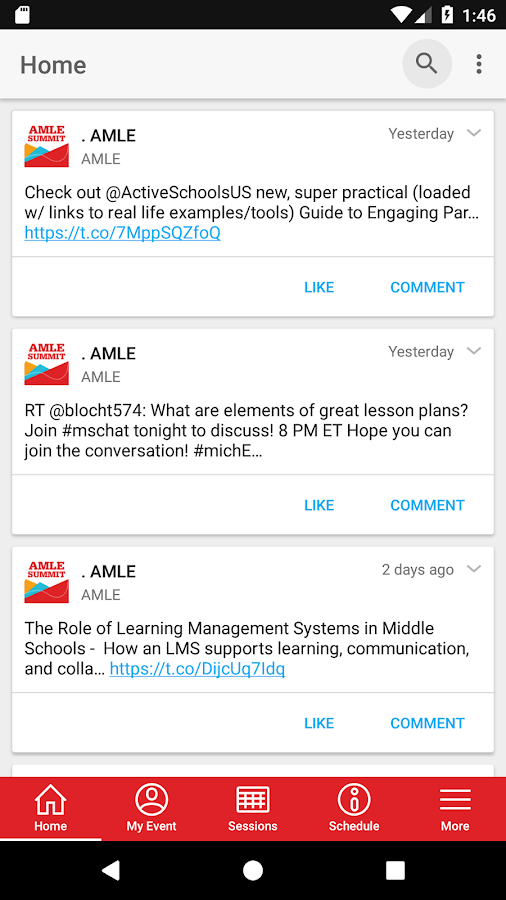 AMLE Middle Grades Summit- screenshot