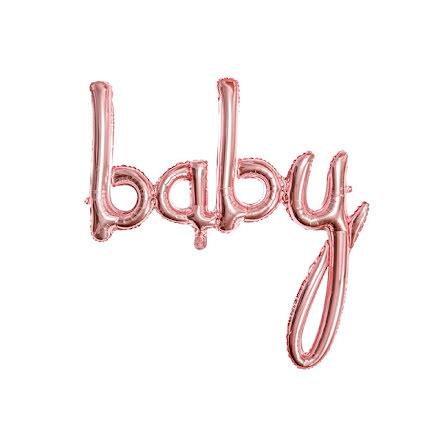 Folieballong - baby roséguld