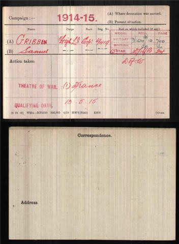 Samuel Gribben's Medal Index Card
