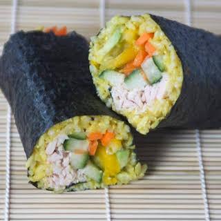 Spicy Tuna Avocado Sushi Burrito.