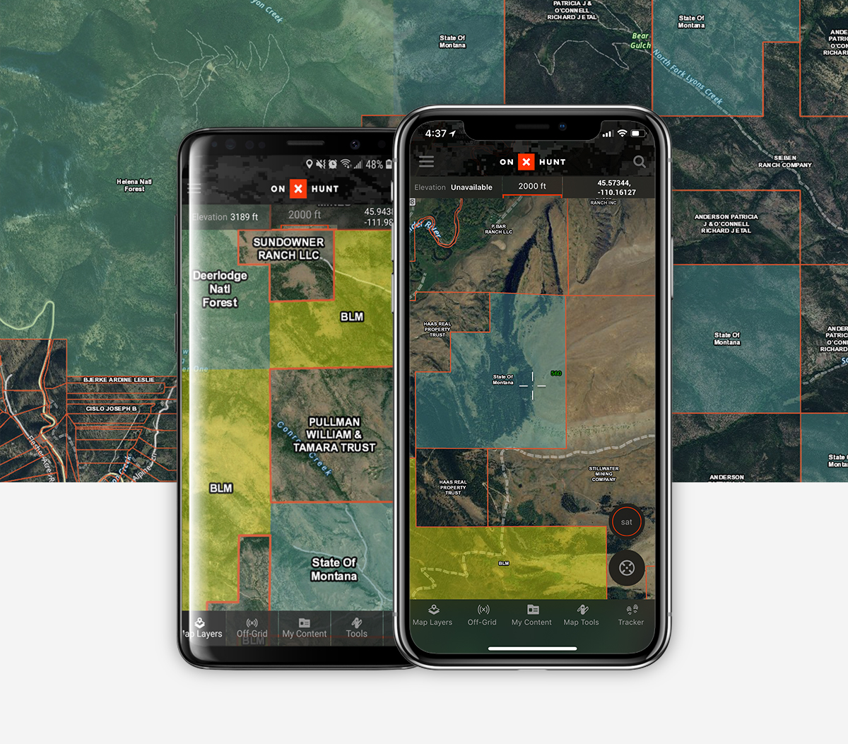 Public and Private land data on the onX Hunt app