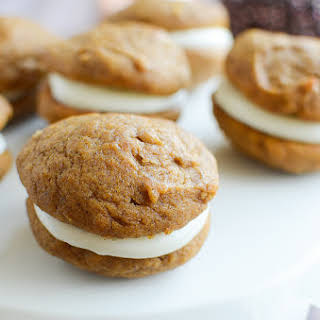 Pumpkin Whoopie Pies with Marshmallow Cream Cheese Filling.