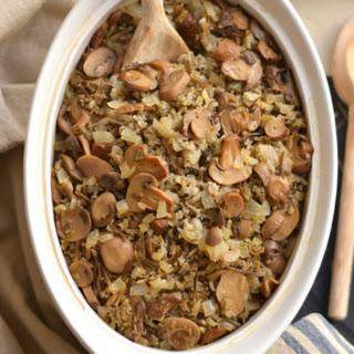 Healthy Wild Rice Casserole {GF, Low Cal, Vegan}