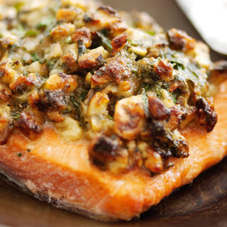 Alaska Salmon with Horseradish, Walnuts & Herbs