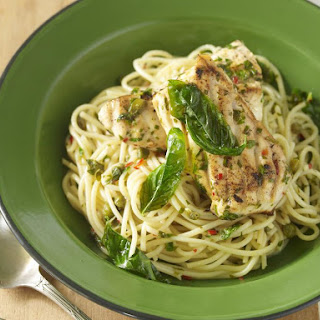 Basil and Lemon Fish with Spaghetti