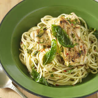 Basil and Lemon Fish with Spaghetti.