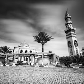 Baiturrahman mosque by Andy Prasetyo - Black & White Buildings & Architecture ( blackandwhite, building, black and white, mosque, bw, architectural, long exposure, architecture, longexposure )