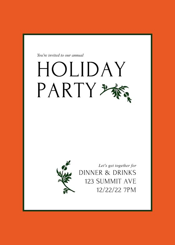 Our Annual Holiday Party - Christmas Card Template