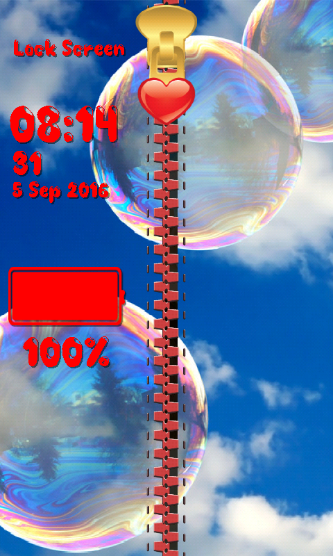 Bubbles Zipper Lock Screen- screenshot