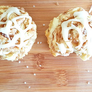 Gluten Free Cinnamon Roll Muffins with Vanilla Iced Coffee Glaze!