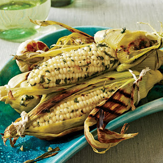 Grilled Corn on the Cob with Roasted Garlic and Herbs.