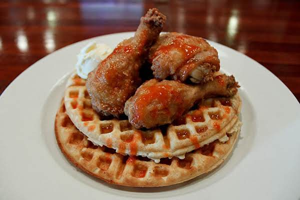 Mouth-watering Picture Of Chicken And Waffles, Not My Own.