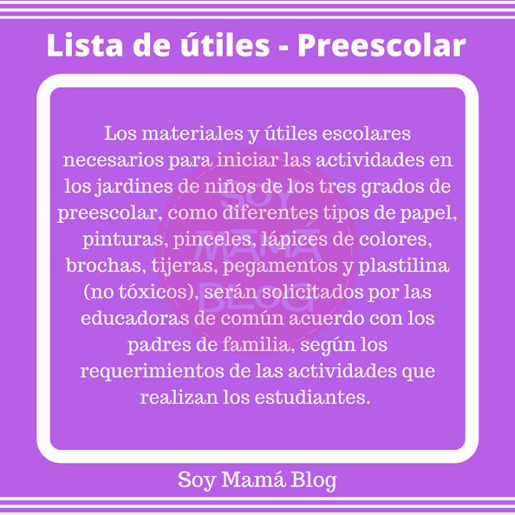Lista de útiles sugerida por la SEP | Preescolar