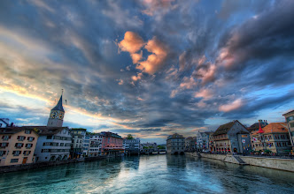 Photo: Exclusive FIRST to Google+ Post! Farewell Zurich ...this photograph taken a few hours ago...  Clouds are mystical in the way they form and flow. Most evenings, like this one, they are both frozen in time and shifting from one shape to another in an unknowable way. When you watch them there is no change; if you turn away for a few moments then look back, everything has changed. I've never quite understood this. It's a bit like the color of water in evening light. There is no color... it shifts so quickly with time that there is nothing about it you can quite put your finger on... and the clouds are just another form of this, two orders of magnitude slower on the other side of the scale...  After spending the afternoon at Google and meeting many nice people (check my stream from yesterday), I went out to explore the city at sunset. It's just exactly the kind of place I love to explore because there are tons of little bridges here and there. Whenever you criss-cross the bridges in almost any configuration, the light changes and you have a new palette...  I can tell from the questions (good questions) that there are a lot of new people to this style of photography. I hate to call it HDR, because I have my own technique, but you I do have a full free tutorial at http://www.StuckInCustoms.com/hdr-tutorial/ that will help you get started. Enjoy!