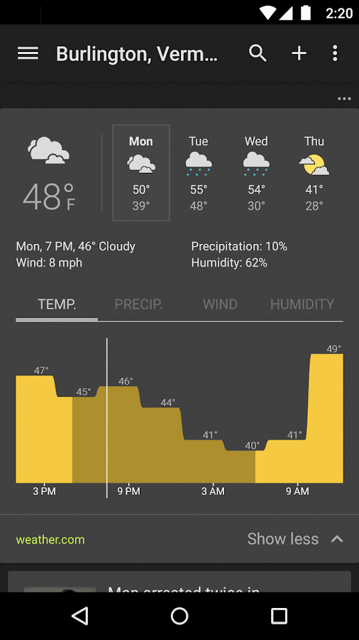 Screenshots of Google News & Weather for iPhone