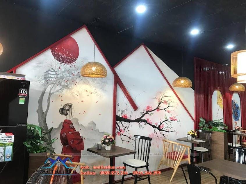 tranh vẽ tường trang trí quán ăn