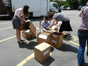 Photo: Several attendees assigned themselves the task of box construction. Great thinking!