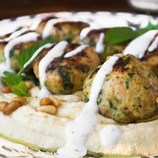 Hummus with Turkey & Zucchini Meatballs