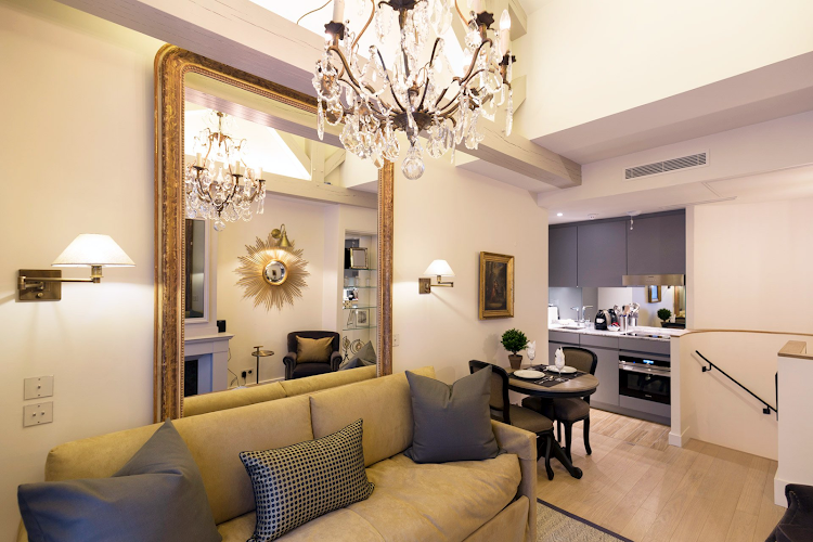 Living area at Place Dauphine Luxury Apartment