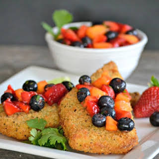 Parmesan Crusted Cod and Berry Salsa.