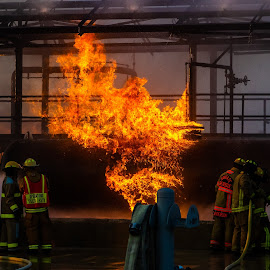 Tanker Fire 4 by Colin Toone - Abstract Fire & Fireworks ( explosion, firefighter, gasoline, tank, water )
