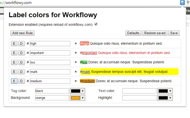 WorkFlowy colorful tags