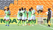 Ojim Samuel Kalu of Nigeria celebrates goal with teammates during the 2019 African Cup of Nations Qualifier match between South Africa and Nigeria at FNB Stadium, Johannesburg on 17 November 2018.
