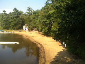 Photo: View of the beach leading away to the right of the Boat House.