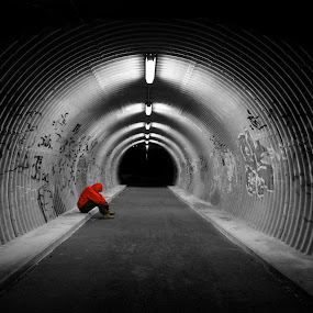 Lonely. by Konrad Ragnarsson - City,  Street & Park  Neighborhoods ( lights, iceland, konni27, reykjavik, man, human, tunnel )
