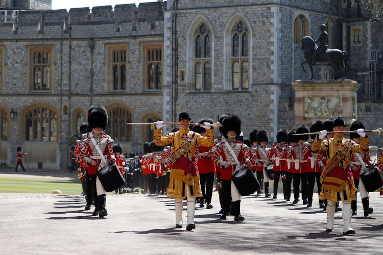 The Foot Guards Band are seen marching ahead of the funeral of Prince Philip, Duke of Edinburgh, at Windsor Castle.