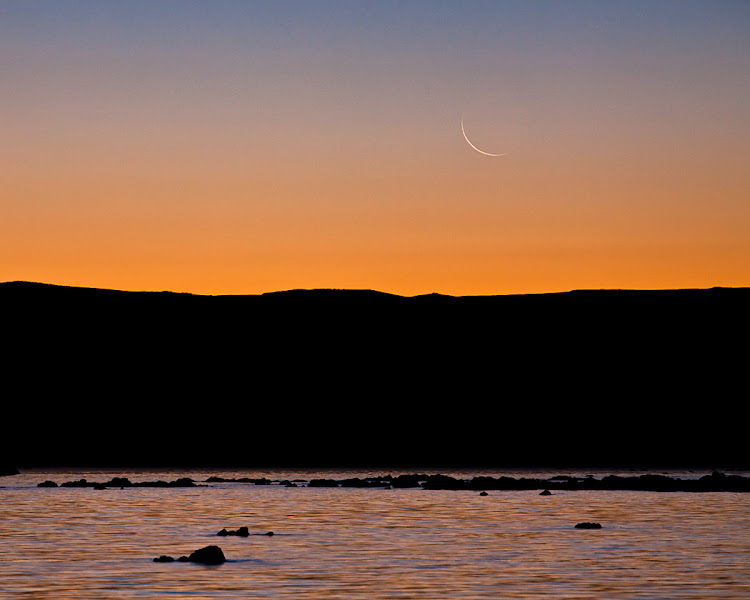 Photo: Crescent Moon Rise at Mono Lake, September 25, 2011.  We came down for the sunrise moon rise, then again for sunset as we saw a dramatic storm rolling through on the webcams.  Nice to have a resource like this just down the road!