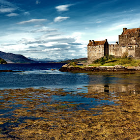 Eilean Donan Castle, Scotland by Peter Greenhalgh - Landscapes Travel ( clouds, scotland, mountains, uk, blue sky, sea, sea loch, loch, eilean donan castle. castle )