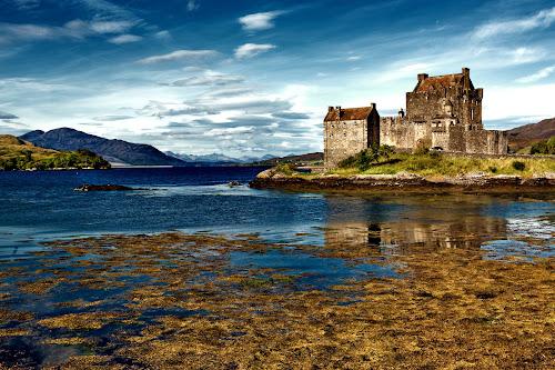 Eilean Donan Castle, Scotland by Peter Greenhalgh - Landscapes Travel ( clouds, scotland, mountains, uk, blue sky, sea, sea loch, loch, eilean donan castle. castle )
