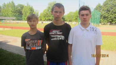 Photo: Od lewej medaliści w biegu chłopców na 1000 m: Kacper Cych, Patryk Urbaniak i Szymon Cieśla