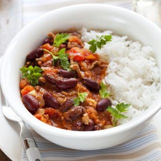 Appetizing White Rice and Red Beans with Steak