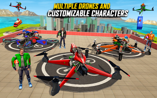 Drone Rescue Simulator: Flying Bike Transport Game android2mod screenshots 14