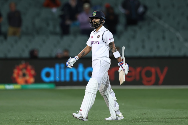Virat Kohli of India walks off the field after being run out by Josh Hazlewood of Australia during day one of the first Test match between Australia and India at Adelaide Oval in Adelaide, Australia, December 17 2020. Picture: RYAN PIERSE/GETTY IMAGES