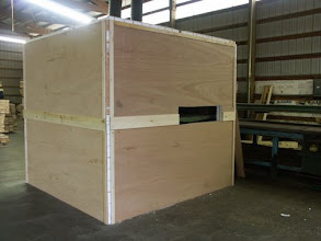 Photo: portable booth made with lightweight, rigid composite core panels with ten year warranty