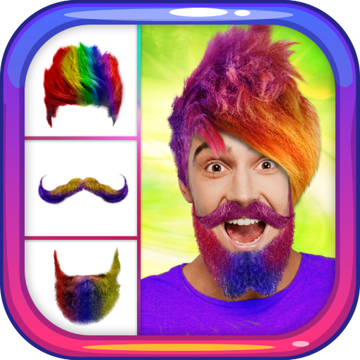 Crazy Man Hair Mustache Beard Icon