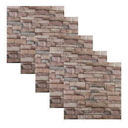 Set 5 x Tapet adeziv caramida, 70 x 70 cm, spuma moale 3D