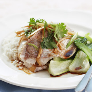 Steamed Snapper with Ginger and Bok Choy.