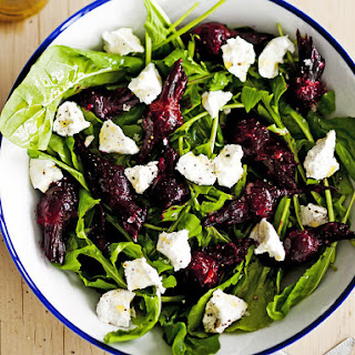 Roasted Beet and Garlic Salad with Goat Cheese