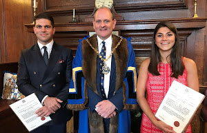 Apprentices Julian and Sophie Nehammer as newly admitted Freemen 18 July 2019