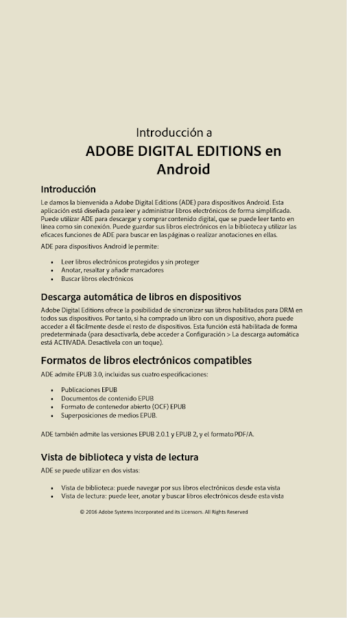 Adobe Digital Editions: captura de pantalla