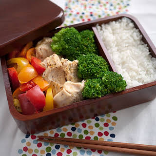 Chicken And Pepper Rice Cooker Bento.
